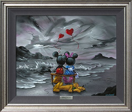 Mickey And Minnie Forever Love by Jim Warren - Disney Fine Art Silver Series Framed Giclee