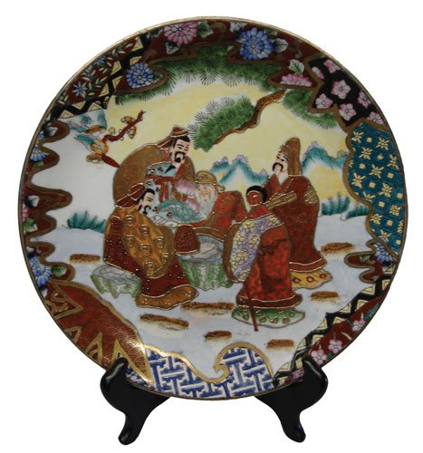 Decorative Chinese hand painted porcelain plate with gold filigree - Asian figures in garden
