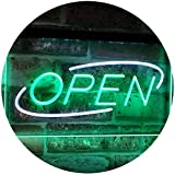 Open LED Neon Sign Shop Business Advertisement Board Electric Display Dual Color White & Green 12'' x 8.5'' st6s32-i2002-wg