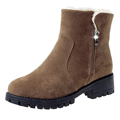 JESPER Women Suede Chunky Heel Ankle Boots Round Toe Zipper Short Tube Foldable Collar Boots Khaki