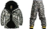 Southplay Mens Waterproof Beige Camo Military Ski-Snowboard Jacket+Pants set (Large)