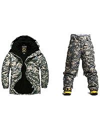 Southplay mens waterproof ski-snowboard U.S Beige Military Jacket+Pants set