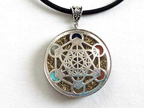 Orgone pendant necklace with silver Metatron's cube and 7 chakras healing stones. EMF protection ()