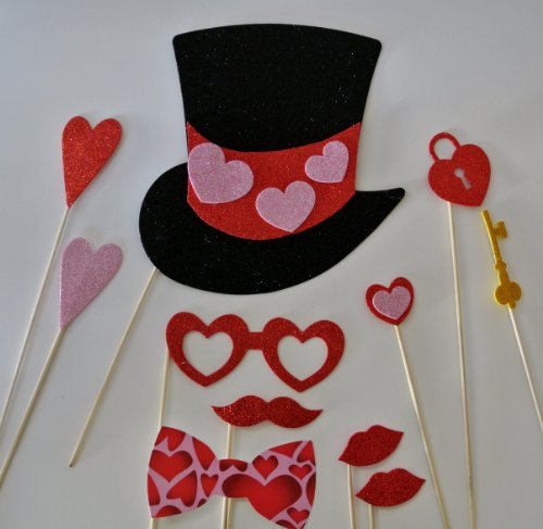 11 Pc Photo Booth Party Props Mustache on a Stick Valentines Day Hearts Top Hats