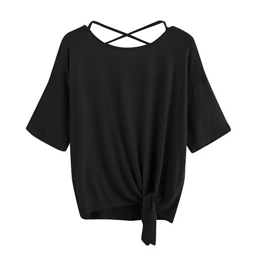 Womens T Shirt,Summer ANJUNIE Solid Crisscross Back Knot Half Sleeve Blouse (Black,