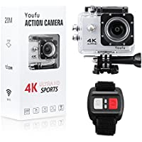 4K Action Camera HD 1080P WiFi Waterproof Mini Sport Cam 16MP Remote Control 100 Feet 30M 170 Degree Wide Angle, Rechargeable Battery, Waterproof, Swimming Skiing Diving Surfing Bike etc. Silver