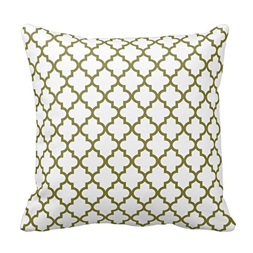 Olive Green and White Decorative Cushion Covers Throw Pillow