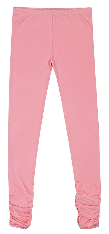 Bienzoe Girls Knit Cotton Stretch School Uniform Lace Antictatic Print Legging 3 Pack