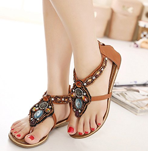 NiSeng Women Bohemia Beaded Sandals Flat Beach Shoes T-Strap Clip Toe Retro Sandals Brown 237wf