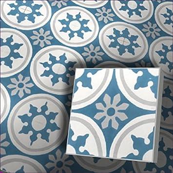Zementfliesen Radia Weiss Blau Bestelleinheit Karton Mit 10 Fliesen