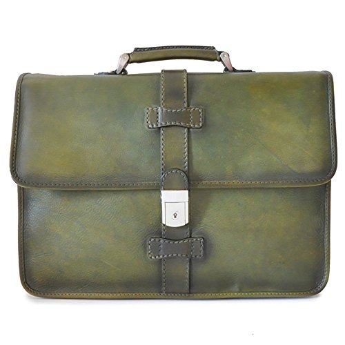 Pratesi Italian Leather Pratomagno Mens Leather Briefcase, Bruce Green