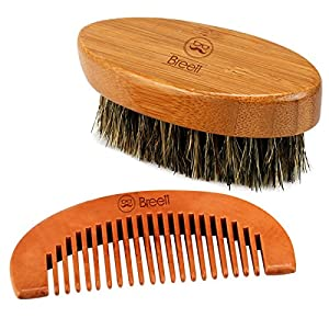 Breett Bristles Beard Brush & Pure Natural Schima Wood Comb, Beard Stylish Tool Set, Beard Comb Kit for Men Beard and Mustache with Storage Pouch
