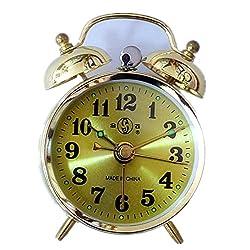 Besplore Double Bell Mechanical Wind Alarm Clock,Gold