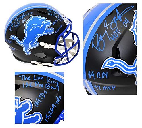 Barry Sanders Signed Detroit Lions Flat Black Matte Riddell Speed Full Size Replica Helmet w/7 Inscriptions Barry Sanders Signed Lions Replica