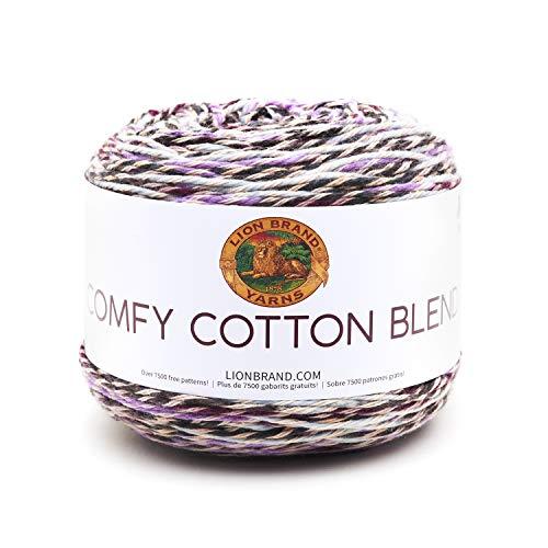 Lion Brand Yarn 756-719 Comfy Cotton Blend Yarn, Blueberry Muffin (1 skein/ball)