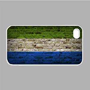 Sierra Leone Flag Brick Wall iPhone 4s White Case