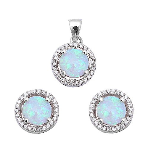Halo Lab Created Opal & Cubic Zirconia .925 Sterling Silver Earring & Pendant Set Colors Available (Lab Created White Opal)