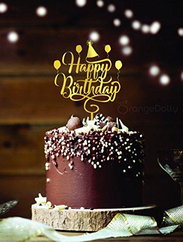 Valentine Birthday Cake - Happy birthday cake topper - Gold Mirror Acrylic Monogram Birthday cake toppers -Birthday party decoration Gold mirror