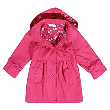 e2bc5faeae69 Amazon.com   Arshiner Girl Kid Flower Waterproof Hooded Coat Jacket ...