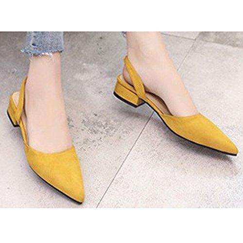 nuevos Tacón y Verano Mujer de de único Bloque Acentuado Primavera de Xianshu Amarillo Zapatos Zapatos UwRZq