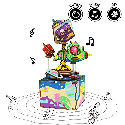 Rolife Whirligig Music Box,3D Wooden Assembly Puzzle Craft Kit,DIY Building Model,Brain Teaser Gifts for Kids and Adults When Christmas/Birthday/Valentine's Day (The Universe)