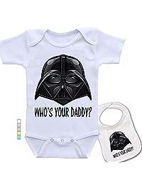 babybyte Daddy .Star Wars Darth Vader Baby Bodysuit Onesie & Matching Bib