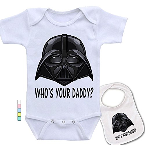babybyte Who's Your Daddy .Star Wars Darth Vader Baby Bodysuit Onesie & Matching -