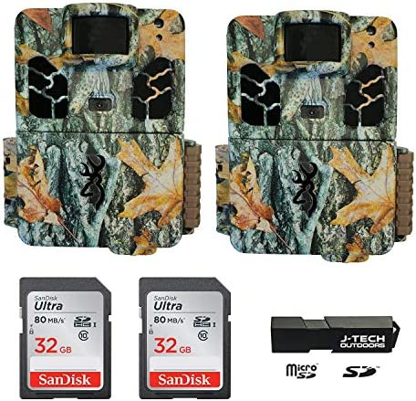 2 Browning Dark Ops HD Pro X 2019 Trail Game Cameras Bundle Includes 32GB Memory Cards and J-TECH Card Reader 20MP BTC6HDPX