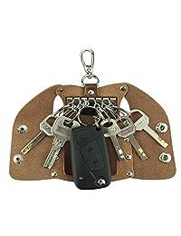 MuLier Full Grain Genuine Leather Key Case Mens Key Bag Keychain Holder with 6 Hooks Design Like A Coat (Brown)
