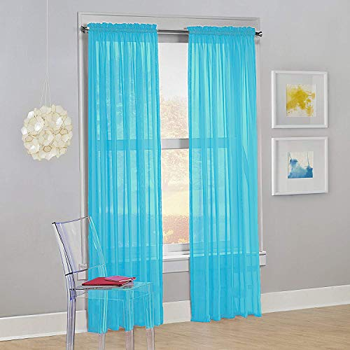 "Decotex Set of 2 Sheer Voile Transparent Window Panel Curtain Drapes (54"" W X 84"" L, Turquoise)"