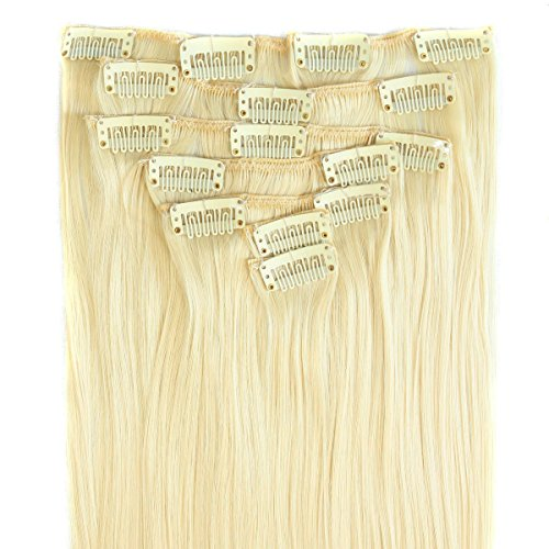 ALi Queen 22'' Pre-colored Blonde 613# Virgin Brazilian Straight 70g Clip In Human Hair Extension 7pcs/set Clip In Hair Accessories
