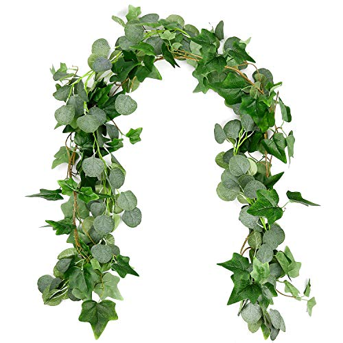 Dragang Seeded Eucalyptus Garland, 2 Pack 6Ft Blended Faux Silver Dollar Eucalyptus Garland and Artificial Vines Hanging Eucalyptus Leaves For Wedding Backdrop Arch Wall Decor Indoor Outdoor ()