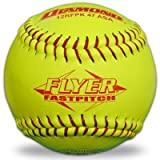 Diamond 12RFPK-47 Yellow 12-inch Red Stitch Leather Softballs ASA Approved (One Dozen)