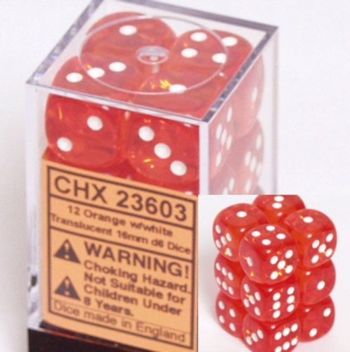 Chessex Dice d6 Sets: Orange with White Translucent - 16mm Six Sided Die (12) Block of Dice