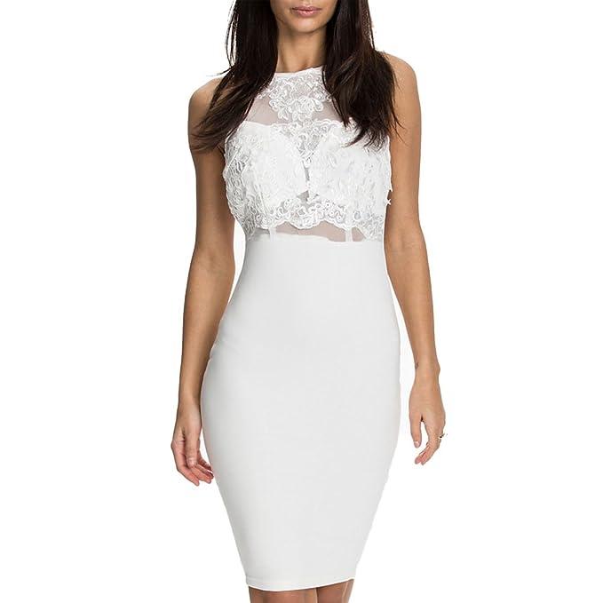 mywy - abito donna tubino bianco elegante vestito pizzo cocktail vestitino  festa party  Amazon.it  Abbigliamento dce7dc3987e