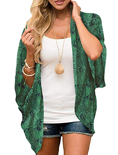 Women's 3/4 Sleeve Floral Kimono Cardigan, Sheer Loose Shawl Capes, Chiffon Beach Cover-Up, Casual Blouse Tops (C37-Leafy Green, X-Large)