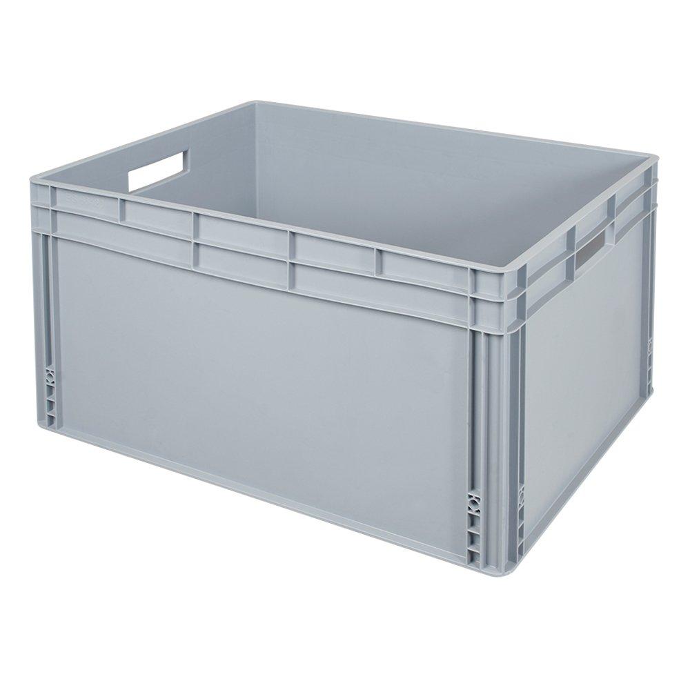 Eurobehälter   Stapelbehälter mit Durchfaßgriffen, LxBxH 800 x 600 x 420 mm, 175 Liter, lebensmittelecht, grau