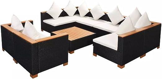 Lingjiushopping Set de Sofas Jardin 27 Piezas de Ratan PE encimera de WPC Negro Material del Sofa: Ratan PE + reposabrazos de WPC + Estructura de Acero con Revestimiento en Polvo: Amazon.es: Jardín