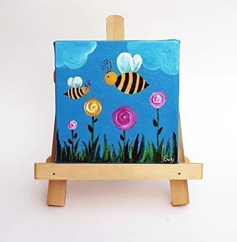 Amazon Com Mini Canvas Painting With Easel Stand For Kid