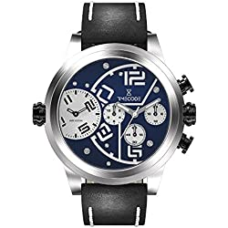 Timecode Chip 1958 TC-1001-03 Stainless steel 50mm Men's Watch BLUE dial with WHITE and BLACK accents on a black/white genuine leather strap Dual time and Chronograph