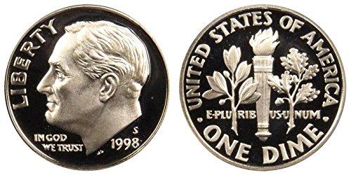 1998 S Roosevelt Proof Silver Dime 10c DCAM US Mint ()