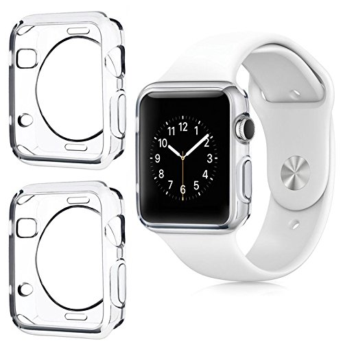 Apple Watch Lot of 2x Clear iWatch Case Full Protection Slide On Bumper Slim Skin [Watch Gel Cover] Corner Protective Case Shockproof Ultra Thin Series 1, 2 & 3 Accessories (42mm)