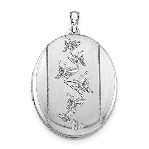925 Sterling Silver Butterflies 34mm Oval Photo Pendant Charm Locket Chain Necklace That Holds Pictures Fine Jewelry Gifts For Women For Her