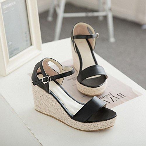 COOLCEPT Damen Mode-Event Knochelriemchen Sandalen Open Toe Keilabsatz Schuhe Schwarz