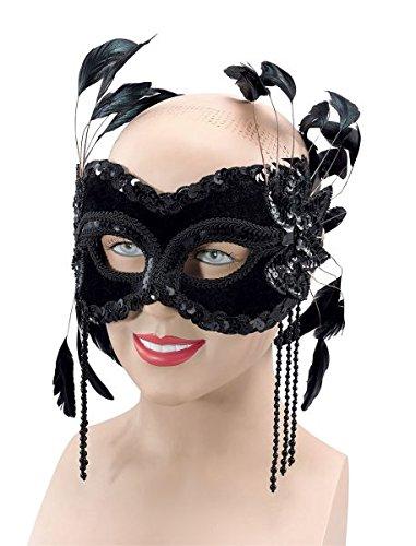 Black Velvet Eye Mask With (Black Velvet Feather Mask)