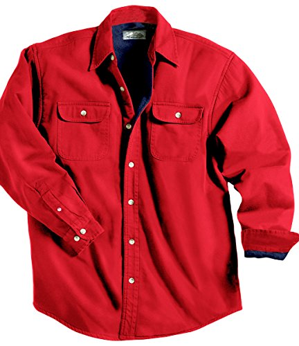 Tri-Mountain 869 Denim shirt jacket with fleece lining - Red / Navy - XL