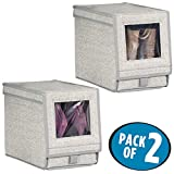 mDesign Fabric Storage Box for Shoes, Boots, Pumps, Sandals, Flats with a Clear Window and Hinged Lid for Closet Storage - Textured Print - Pack of 2, Medium, Gray
