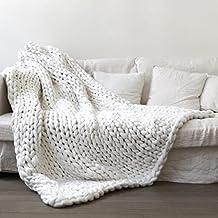 Qoolunt(TM) Handmade Chunky Knitted Blanket Wool Thick Line Yarn Throw Sofa Bed 60x60/80x100/100x120/120x150cm