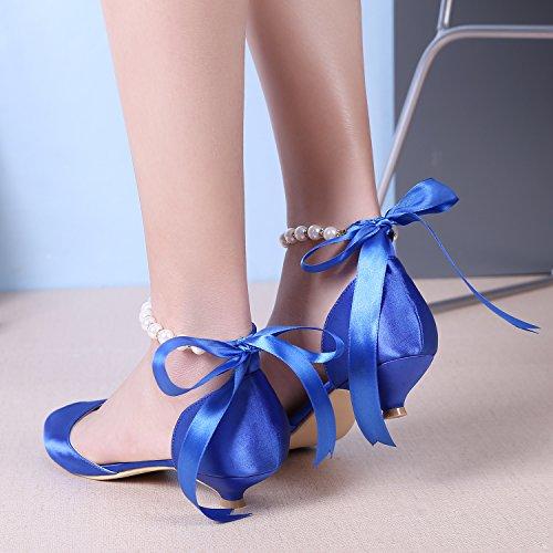 479feaf92ce M Mulgaria Femmes Pompes Peep Toe Talon Bas Perles Ruban Strass Satin  Chaussures De Bal De ...