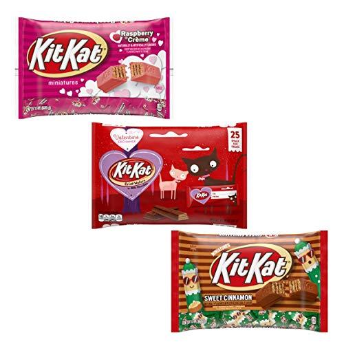 Valentines Kit Kats Variety Pack of 3 Bags Chocolate Candy Miniatures – Raspberry Crème Kit Kats, Crisp Wafers Kit Kat…